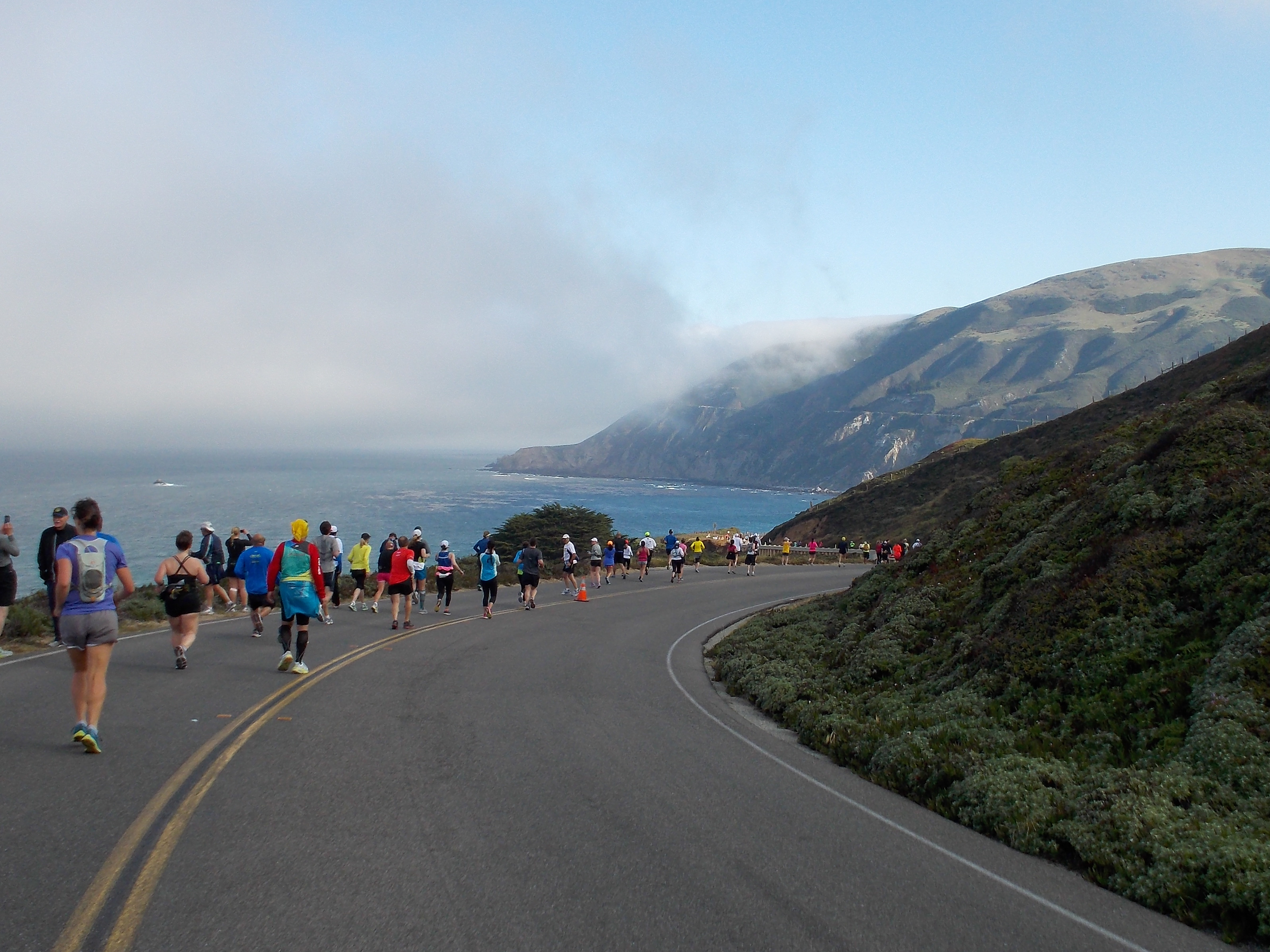 Runners on the course of the Big Sur Marathon